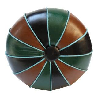 Mid-Century Modern Multicolored Naugahyde Pouf For Sale
