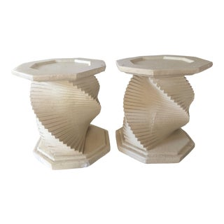 Mid-Century Modern Plaster Helix Tables - a Pair For Sale