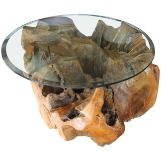 Cypress Wood Tree Trunk Coffee Table For Sale