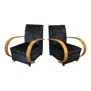 1920's Italian Burlwood Club Chairs For Sale
