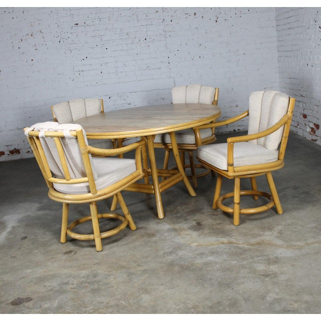 Mid-Century Ficks Reed Co. Round Rattan Game Table & Chairs - Image 4 of 11