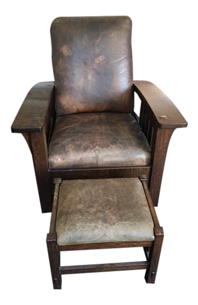 Stickley Mission Oak Reclining Morris Chair U0026 Ottoman   A Pair   Image 1 ...
