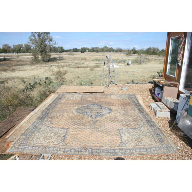 Early 20th Century Antique Oushak Waterloo Design Rug - 11′9″ × 15′5″ For Sale - Image 9 of 13