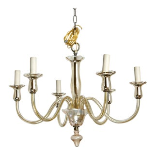 Six-Arm Pale Amber Murano Glass Chandelier For Sale