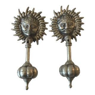 Antique Indian Metal Sunburst Door Handles / Knockers - a Pair For Sale