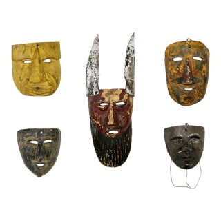 Collection of Five Vintage Mexican Folk Art Hand Carved Wood Masks For Sale