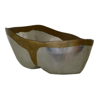 Brutalist Brass and Aluminum Bowl For Sale
