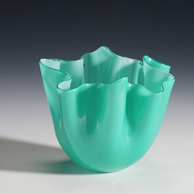 a small fazzoletto vase in lattimo and green glass designed by fulvio bianconi in 1950, manufactured by venini, venice ca....
