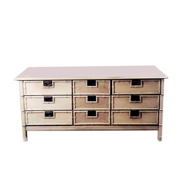 """1970s 1970s Stanley Furniture """"Bali Hai"""" Campaign Faux Bamboo 9 Drawer Dresser For Sale - Image 5 of 8"""