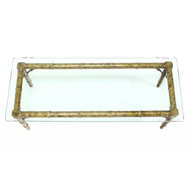 Lacquered Wood Faux Bamboo with Glass Top Rectangular Coffee Table For Sale - Image 4 of 8