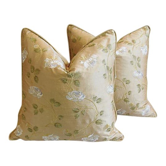 """24"""" Custom Tailored Embroidered White Rose Silk Feather/Down Pillows - Pair For Sale - Image 12 of 12"""