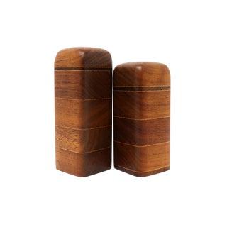 Vintage Handmade Wood Salt & Pepper Shakers For Sale