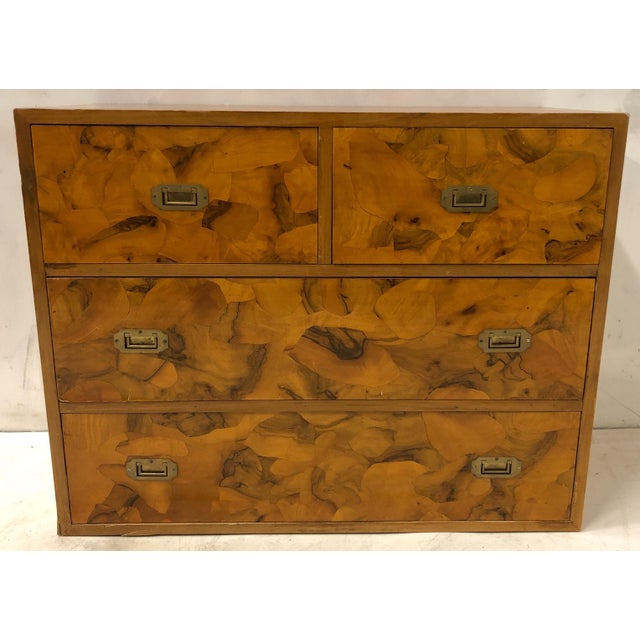 Henredon Pair of Patchwork Burl Campaign Style Chests For Sale - Image 4 of 6