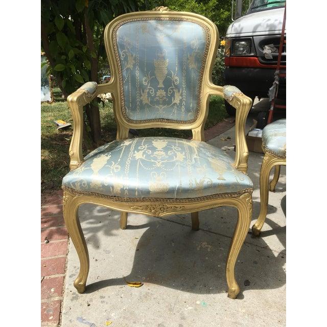 Gold Gilt Italian Louis XVI Settee & Chairs - Set of 3 - Image 4 of 9
