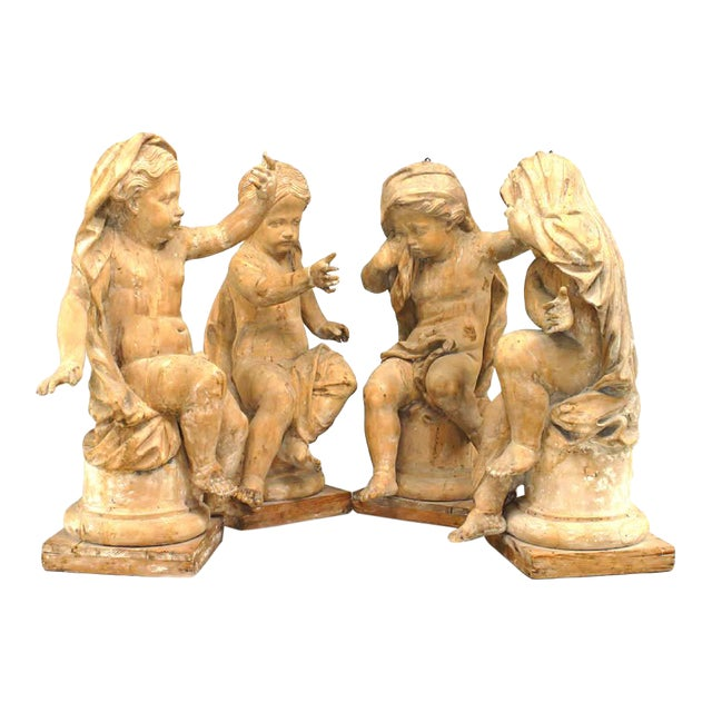 18th Century French Louis XVI Style Stripped Wood Life Size Putti - Set of 4 For Sale