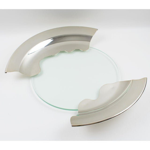 1980s Futurist Silver Plate Glass Platter Bowl Centerpiece For Sale - Image 4 of 11