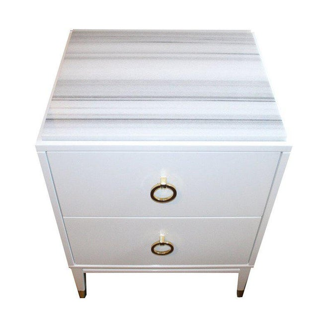Customizable Spencer Marble-Top Night Tables For Sale In New York - Image 6 of 7