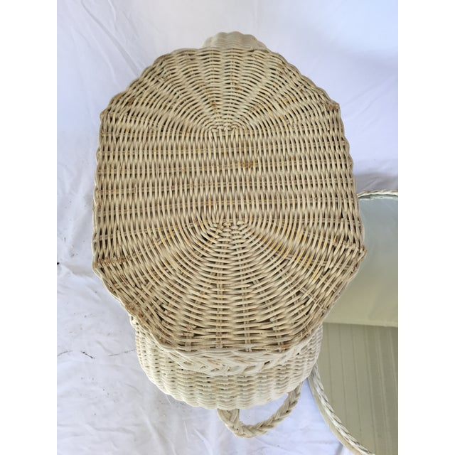 White Vintage White Wicker Elephant Side Table With Mirrored Tray For Sale - Image 8 of 12
