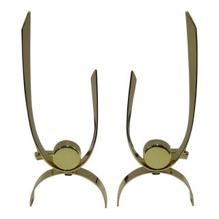 1940s Art Deco Donald Deskey Modernist Brass Andirons - a Pair For Sale