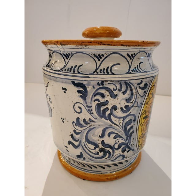 Ceramic Provencal Ceramic Painted Lidded Apothecary Jars -A Pair For Sale - Image 7 of 13