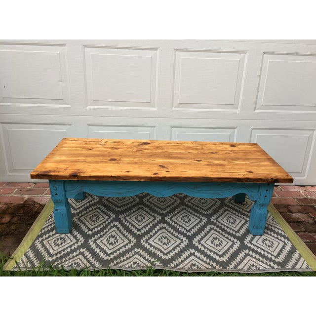 Boho Chic Reclaimed Heart-Pine Coffee Table For Sale In Savannah - Image 6 of 7