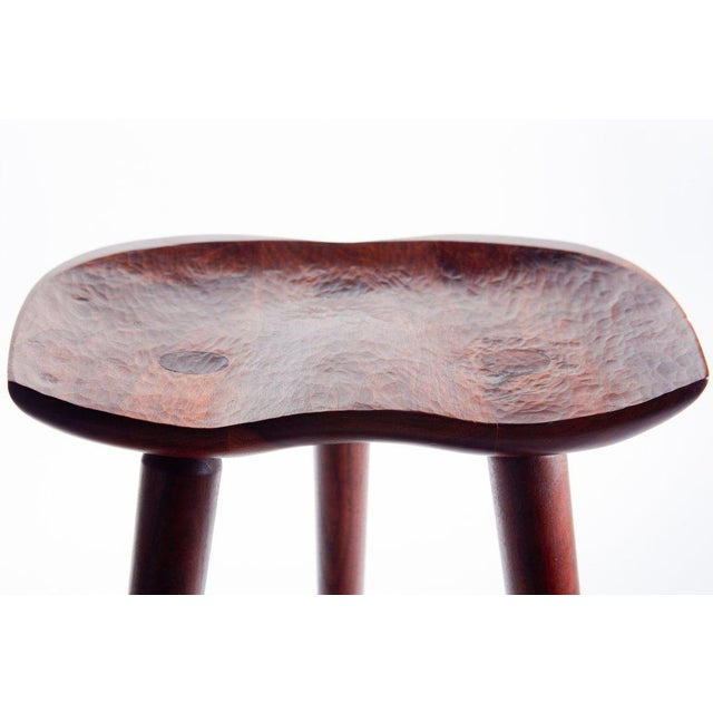 Walnut Hand Crafted Stool in Walnut For Sale - Image 7 of 9
