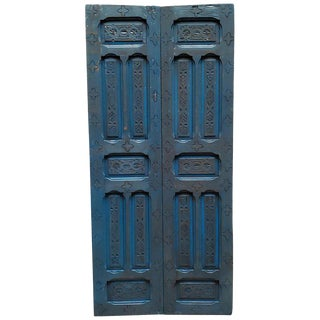 1970s Vintage Double Panel Moroccan True Blue Wooden Door For Sale