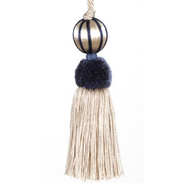 Boho Chic Blue & White Beaded Key Tassel - H 4.5 - Inches For Sale - Image 3 of 8