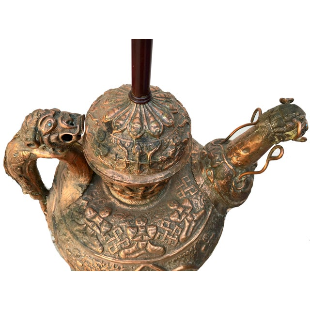 Asian Antique Antique Tibetan Repousse Copper Wine Vessel Lamp With Inlaid Turquoise For Sale - Image 3 of 7