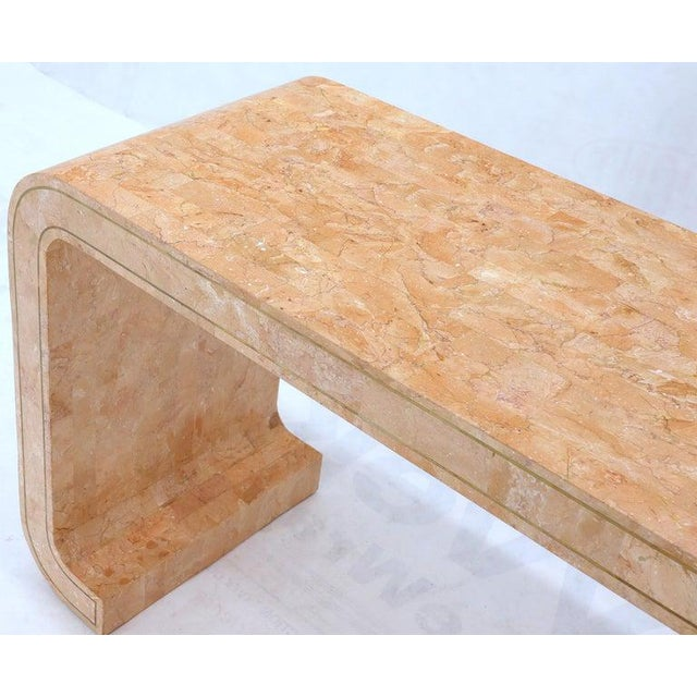 Brown Tessellated Marble Stone Brass Inlay C Bracket Shape Console Sofa Table For Sale - Image 8 of 11