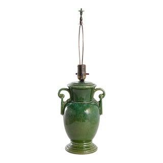 1920s Green Glazed Jug Lamp For Sale