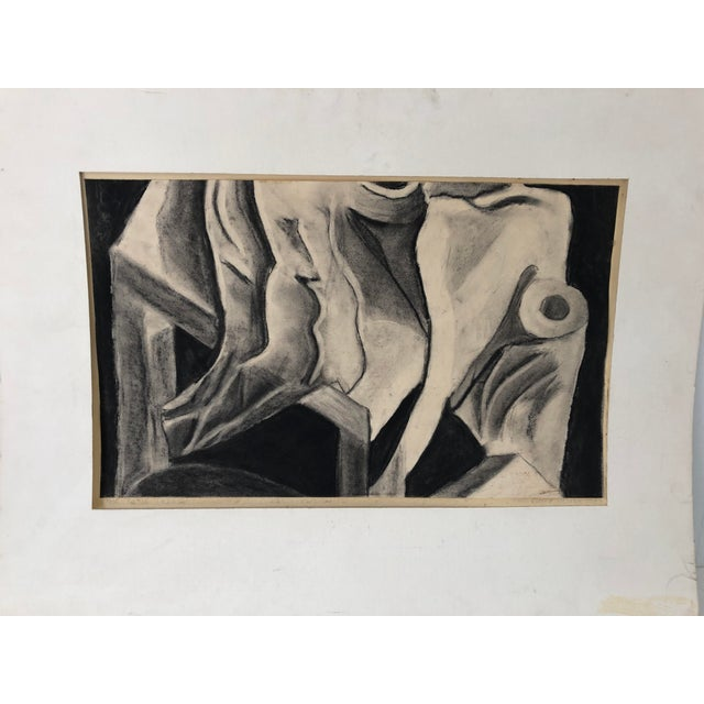 Paper Monochrome Abstract Drawing 22x14 Still Life Signed For Sale - Image 7 of 7