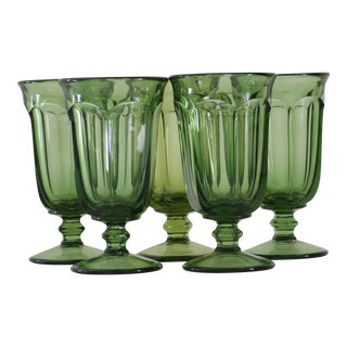 Green Glass Water Goblets - Set of 5