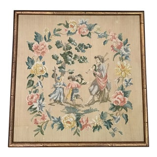Floral Needlepoint in Bamboo Frame For Sale