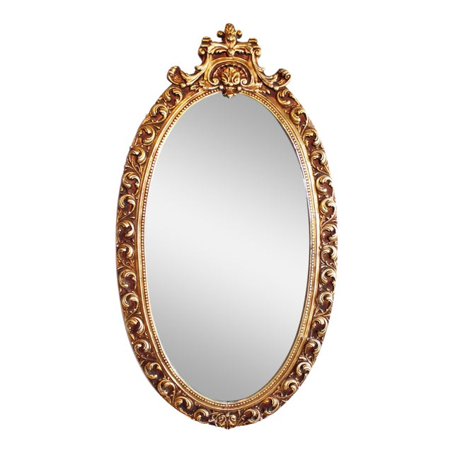 Oval Baroque Gilt Gold Mirror For Sale