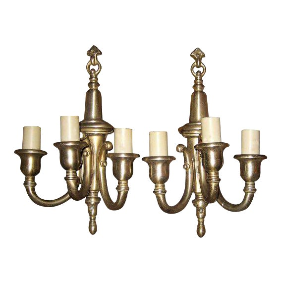 Nickel Over Bronze Triple Arm Wall Sconces - A Pair For Sale