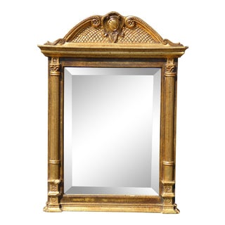 Vintage Federal Style Gold Gilt Wall Beveled Mirror For Sale