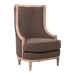 Royale Wing Chair in Brown For Sale