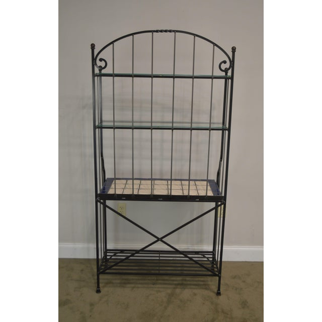 1980s Quality Hand Forged Iron Bakers Rack With Tile Shelf For Sale - Image 5 of 9
