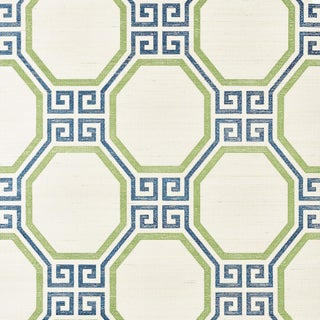 Sample - Schumacher Octavia Sisal Wallpaper in Turquoise & Palm For Sale