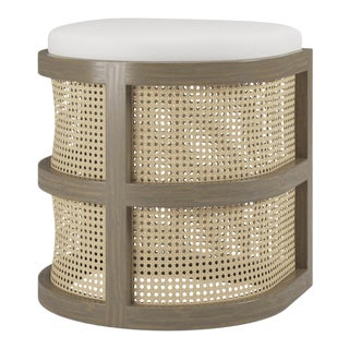 Isabella Demi Stool - Weathered Grey Oak, Optic White Linen For Sale