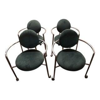 Green Velvet & Metal Custom Chairs - Set of 4