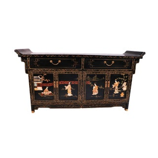 Chinese Black Lacquered Brass Mounted Mother of Pearl Inlaid Side Board Console Cabinet For Sale