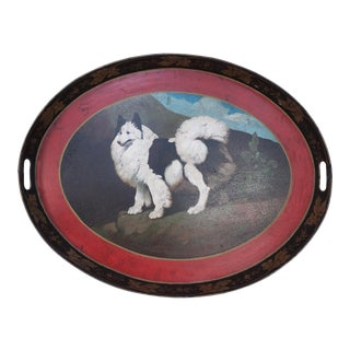 Vintage Oval Tole Fluffy Black and White Dog Portrait Serving Tray For Sale