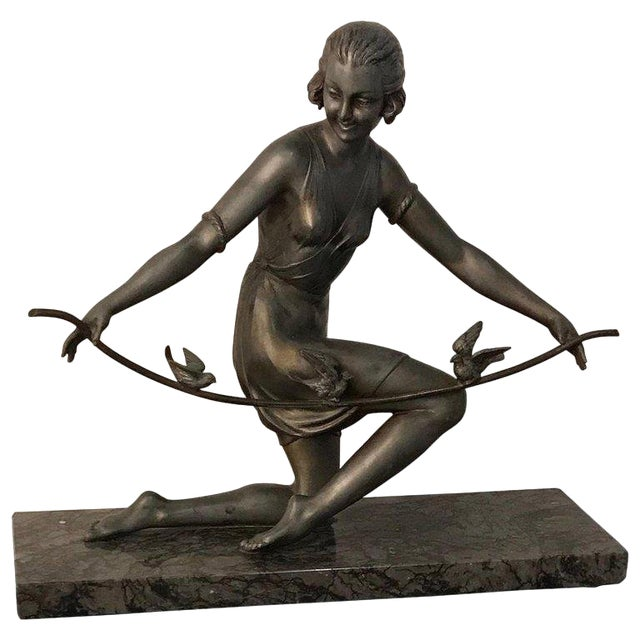 French Art Deco Female Sculpture on Marble For Sale