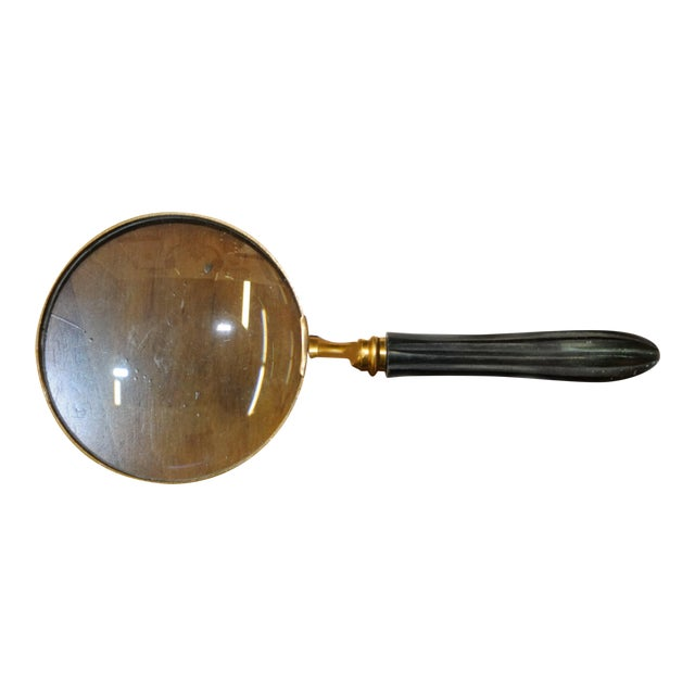 Magnifying Glass With Fluted Wooden Handle and Brass Frame For Sale