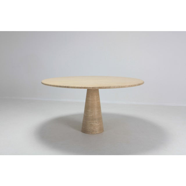 Contemporary Angelo Mangiarotti Round Travertine Dining Table For Sale - Image 3 of 10