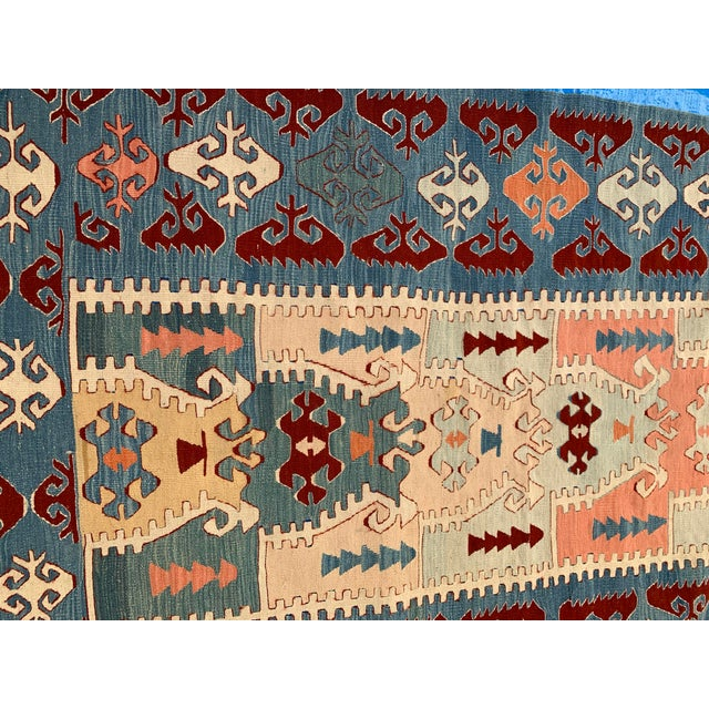 Late 20th Century Blue and Coral Kilim Rug- 3′8″ × 5′2″ For Sale - Image 5 of 10