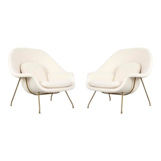 Set of Saarinen for Knoll Womb Chairs With Brass Bases For Sale