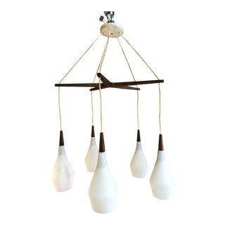 Danish Mid-Century Modern Frosted Glass and Teak Pendant Chandelier For Sale